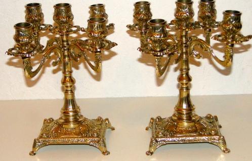 2 Kerzenständer 5 armig & Kaminuhr Messing Antik Uhr DEKO GOLD kaminset 82108B - Vorschau 5