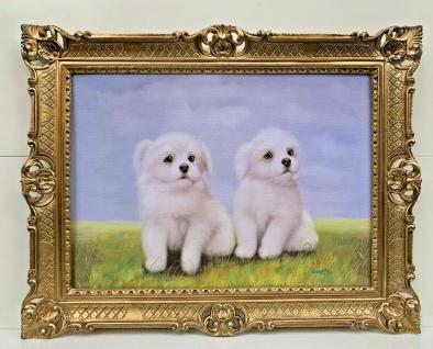 Hunde Bild 90x70 Weißer Welpen Gemälde Barock Wandbild Bild Tiere Kunstdruck