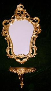Wandspiegel mit Konsole Spiegelablage 50x76 Antik Barock Bad Spiegel