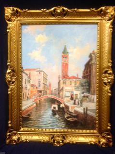 Venedig Gondel gemälde Antik Reblikat Bild mit Rahmen 90X70 BILDERRAHMEN GOLD