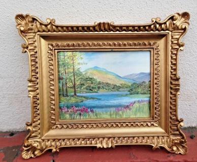 Gemälde 33x28 Antik Barock Rechteckig Bild mit Rahmen Landschaft See Berge