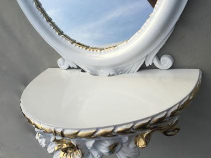 Wandspiegel Weiß Silber Barock mit Wandkonsole Antik Spiegel 48x25 Oval cp91 - Vorschau 3