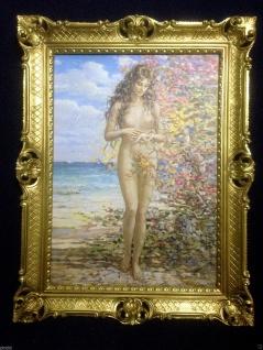 Gemälde Frau Nackt Frauenakt Aktgemälde Erotisches Bild 90x70cm Barock Rahmen