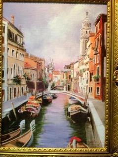Venedig Brücke Boot Gerahmte Gemälde 90x70 Italien Venezia Venedig Gondel - Vorschau 5