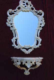 Wandkonsole Weiß Gold mit Wandspiegel Antik Barock 50x76 Wandregal Badspiegel - Vorschau 5