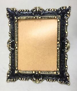 Bilderrahmen Schwarz-Gold Barock Rechteckig 45x37 Antik Gemälderahmen mit Glas