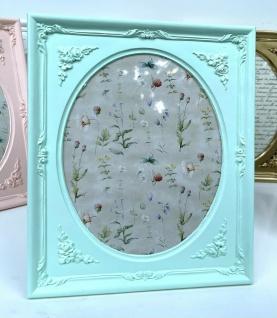Bilderrahmen Mint Grün 19x17 Antik Barockrahmen oval Tisch Fotorahmen Tischdeko
