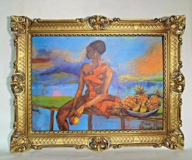Gemälde Afrikanische Frau Ananas Obstschale Wandbild 90x70 Kunstdruck Barock