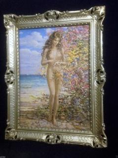 Gemälde Frau Nackt Frauenakt Aktgemälde Erotisches Bild 90x70 Barock Rahmen
