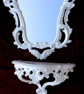 Wandspiegel Weiß Barock mit Wandkonsole 50X76 Spiegelablage Kommode Retro Repro