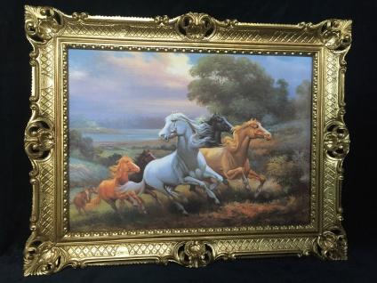 Gerahmtes Pferde Bild Gemälde Pferde Bilderahmen Gold Wandbild 90x70cm Bild T1