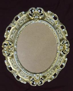 Bilderrahmen Oval Barock Gold Weiß mit Schutzglas 45x37 Antik Fotorahmen Prunk