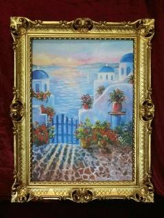 Griechische Inseln Mykonos Blumen und Meer - Rajco 90x70 Kunstdruckbild Barock