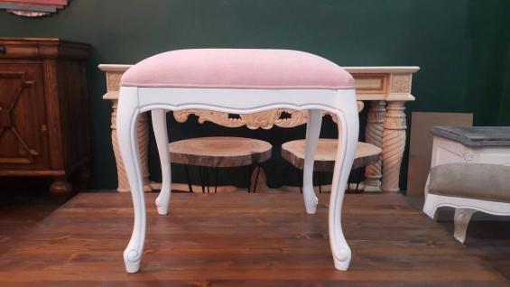 Sitzhocker Rosa Pink Stoff holz Hochwertig gepolstert Antik weiß Schminkhocker