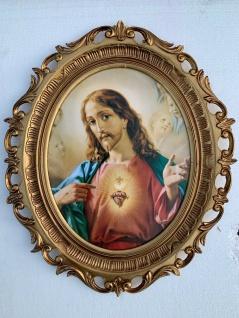 Heiligen Bild Jesus Christus Bild Nazareth gerahmt Oval 58x68 Antik Rahmen Gold