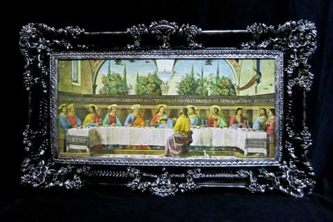 Das Letzte Abendmahl 97x58 Jesus Gemälde mit Rahmen Ikone Jesusbild ITALIEN