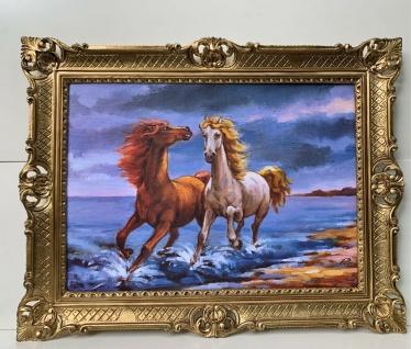 Gerahmte Pferde Bild Gemälde Pferd Bild mit Barock Rahmen 90x70 Pferde am Strand
