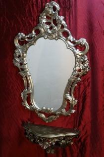 Wandspiegel Antik Silber mit Wandablage Barock 50X76 Kommode Repro Wandkonsole