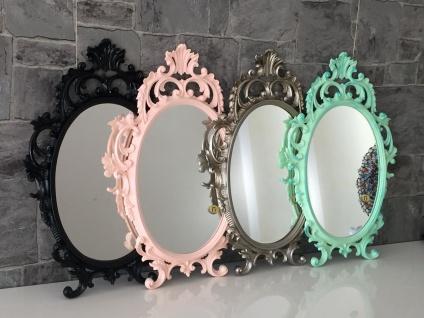 Wandspiegel Oval barock Gold Silber Schwarz Weiß 43x28cm Spiegel Antik Shabby - Vorschau 1