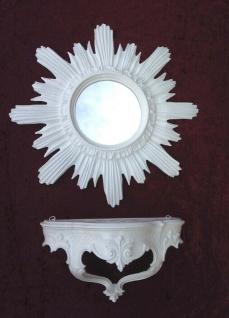 Wandspiegel Sonne mit Konsole WEIß Barock Antik 42x42 Badspiegel Ablage Shabby