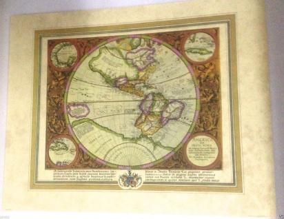 Weltkarte Antik Mittelalter Historische Weltkarte 50x40 Kunstdruck Wandbild