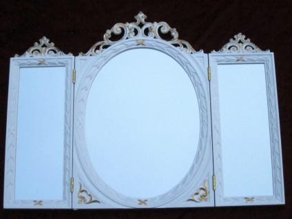Wandspiegel Antik Oval Rechteckig Weiß Gold Badspiegel BAROCK 60X46 Spiegel c508