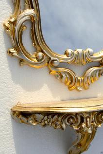 Wandspiegel+ Konsole 50x76 Wandkonsole gold-weiß Spiegelablage Retro Vintage