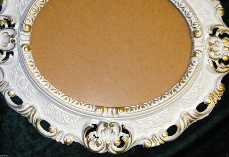 BILDERRAHMEN OVAL Weiß-Gold Antik Barock Fotorahmen 45X37 Spiegelrahmen Neu - Vorschau 5