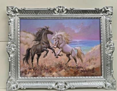 Bild mit Rahmen Gemälde Pferd Antik Bilderrahmen Gold 90x70 Wilde Pferde Barock