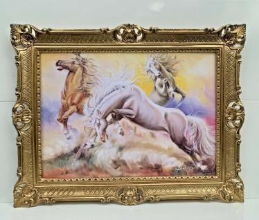 Bild mit Rahmen Prunk Gemälde Pferd Wandbild 90cm Wilde Pferde Barock Bild Antik