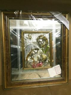 Spiegelbild 3D Bild Relief Jesus Geburt Maria religiöse 56x50 Holz Rahmen Italy