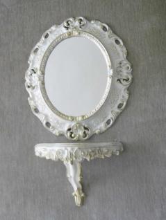 Wandspiegel Oval Weiß Gold + Ablage Wandkonsole Barock 45cm Spiegel mit Konsole