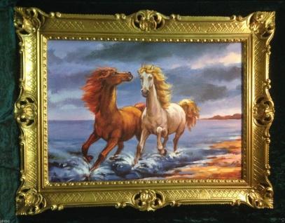 Gemälde Pferd Bild 90x70cm Barock Ölbild Kunstdruck Pferde am Meer Tiere Pferd 1 - Vorschau 1