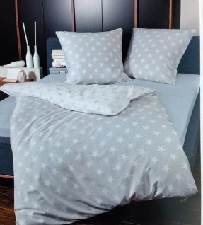 Bettwäsche Janine Sterne mit Wendeseite 135x200 Grau Feinbiber 100% Baumwolle