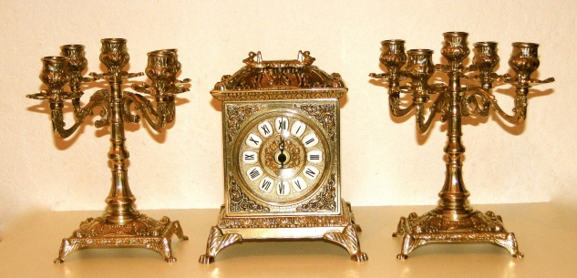 2 Kerzenständer 5 armig & Kaminuhr Messing Antik Uhr DEKO GOLD kaminset 82108B - Vorschau 3