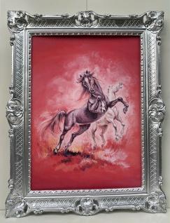 Gerahmte Wilde Pferde Bild Gemälde Bilderahmen Silber Prunk Rahmen Barock 90x70