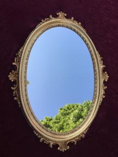 Wandspiegel Gold Oval Barock Spiegel antik Bad Spiegel 62x48cm Flurspiegel C12