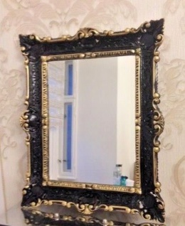 Badspiegel Spiegel BAROCK Wandspiegel antik Schwarz-Gold 56x46 Repro NEU