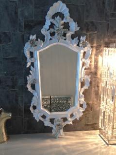 Wandspiegel Barock Weiß Silber Spiegel Antik Badspiegel Barspiegel 83x43 Oval - Vorschau 5