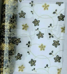 Tischschutz Folie 2mm Transparent Tischdecke gold Motiv Meterware 80-100cm