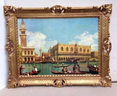 Bild mit Rahmen Gemälde 90x70 Barock Wandbild Venedig Gondeln Bild Nostalgie Kl