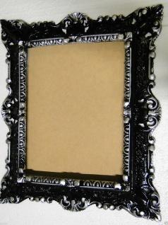 Bilderrahmen mit Glas 45X 37Fotorahmen Schwarz-Silber Antik Barock Rechteckig