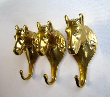 3 x Wandhaken Messing Garderobenhaken Kleiderhaken Antik Gold Pferdekopf 13cm