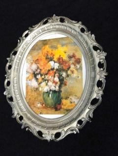 Bild mit Rahmen Blumen Gemälde ANTIK BAROCK 58X68 Silberantik Bilderrahmen groß