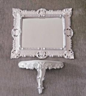 Wandspiegel mit Wandkonsole Weiß Silber Barock 45x37 Spiegel mit Konsole Vintage - Vorschau 5