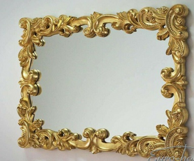 Wandspiegel GOLD XXL Badspiegel Antik 100x71cm BAROCK Rokoko PrunkSpiegel