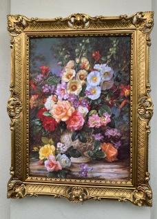 Gerahmte Gemälde Blumen Bilder 90x70 Sommer Blumen in Vase Bild mit Rahmen Rosen
