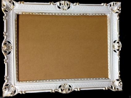 Bilderrahmen Weiß Gold Barock mit Glas Hochzeitsrahmen Antik 90x70 groß Poster