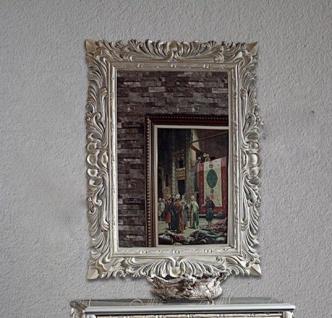 Großer Barock Wandspiegel antik Silber 120x90 Standspiegel Spiegel Flurspiegel