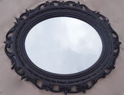 Bilderrahmen Oval Schwarz Barock shabby Groß Fotorahmen Antik 58x68 mit Glas